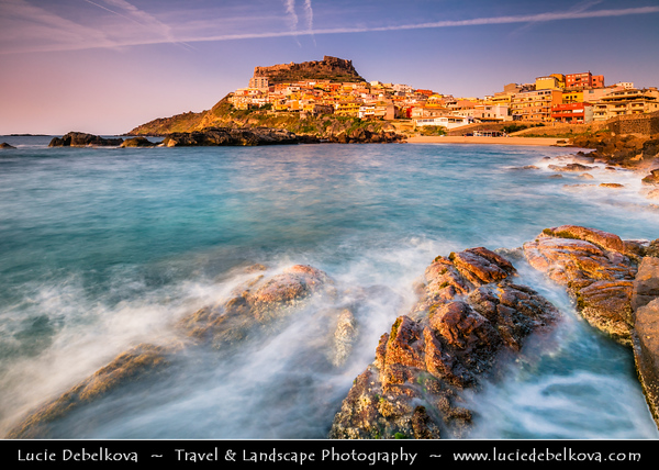 Europe - Italy - Italia - Sardinia - Italian island in Mediterranean Sea - Province of Sassari - Castelsardo - Picturesque historic town with castle on northern coast of Sardinia at Gulf of Asinara
