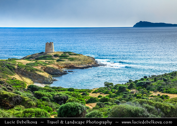 Europe - Italy - Italia - Sardinia - Italian island in Mediterranean Sea - Province of South Sardinia - Chia Bay - Baia di Chia - Coastal area with beautiful beaches, golden sands & turquoise waters - Torre di Pixinni