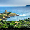 Europe - Italy - Italia - Sardinia - Italian island in Mediterranean Sea - Province of South Sardinia - Chia Bay - Baia di Chia - Coastal area with beautiful beaches, golden sands & turquoise waters - Torre di Pixinni
