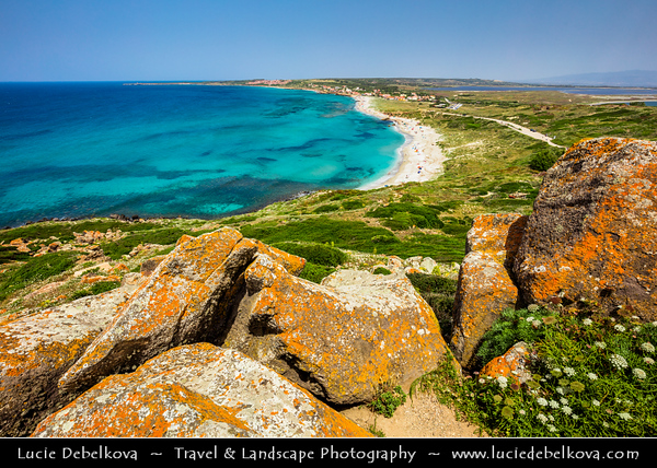 Europe - Italy - Italia - Sardinia - Italian island in Mediterranean Sea - Province of Oristano - Capo San Marco - Beautiful beaches around Torre spagnola di San Giovanni di Sinis