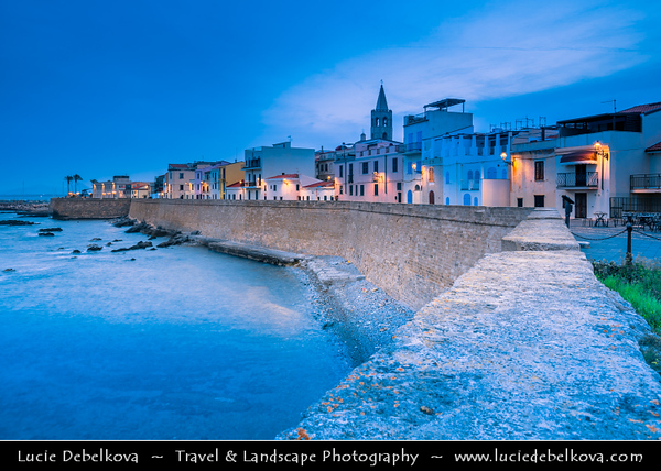 Europe - Italy - Italia - Sardinia - Italian island in Mediterranean Sea - Alghero - Historical town with ancient city walls