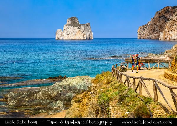 Europe - Italy - Italia - Sardinia - Italian island in Mediterranean Sea - Costa Verde - Spaggia di Masua beach and Pan di Zucchero - One of most impressive & spectacular natural monuments - Symbol of the coast of Iglesias