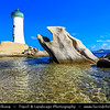 Europe - Italy - Italia - Sardinia - Italian island in Mediterranean Sea - Province of Olbia-Tempio - Punta Palau Lighthouse - Faro di Punta Palau - Active lighthouse located on northern extremity of granite promontory of Punta Sardegna