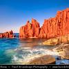 Europe - Italy - Italia - Sardinia - Italian island in Mediterranean Sea - Province of Ogliastra - Arbatax - Spiaggia delle Rocce Rosse - Red Rocks Beach - Red prophyric rocks of volcanic origin