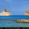 Europe - Italy - Italia - Sardinia - Italian island in Mediterranean Sea - Costa Verde - Spaggia di Masua beach and Pan di Zucchero - One of most impressive & spectacular natural monuments - Symbol of the coast of Iglesias