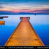 Italy - Italia - Sicily - Sicilia - Trapani area - Marsala in front of Mozia Island - Wooden Pier with Boats - Dusk - Twilight - Blue Hour - Night