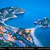 Italy - Italia - Sicily - Sicilia - Taormina - Isola Bella - Small island near Taormina, also known as The Pearl of Ionian Sea within small bay on Ionian Sea - Most famous beach of Taormina - Dusk - Twilight - Blue Hour - Night