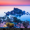 Italy - Italia - Sicily - Sicilia - Taormina - Isola Bella - Small island near Taormina, also known as The Pearl of Ionian Sea within small bay on Ionian Sea - Most famous beach of Taormina - Dusk - Twilight - Blue Hour - Night