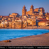 Italy - Italia - Sicily - Sicilia - Cefalù - Ancient City on Shores of Mediterranean sea - Dusk - Twilight - Blue Hour - Night
