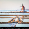 Italy - Italia - Sicily - Sicilia - Salina - Windmills at Stagnone di Marsala in front of Mozia Island - Salt plant in the area of Trapani - Sunset - Late Evening