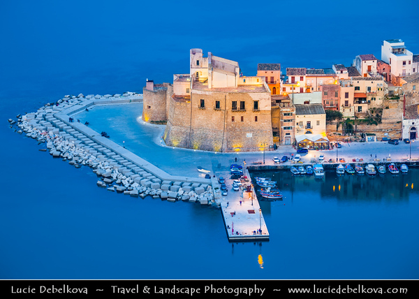 Italy - Italia - Sicily - Sicilia - Trapani - Western Sicily - Castellammare del Golfo - Casteddammari - Sea- Fortress (castle (on the) sea) of the Gulf - View over harbour