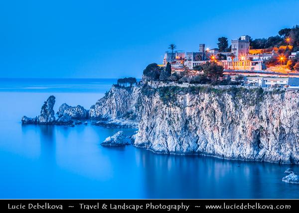 Italy - Italia - Sicily - Sicilia - Taormina - Coast next to Isola Bella - Small island near Taormina, also known as The Pearl of Ionian Sea within small bay on Ionian Sea - Most famous beach of Taormina