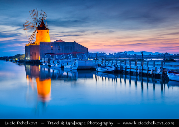 Italy - Italia - Sicily - Sicilia - Salina - Windmills at Stagnone di Marsala in front of Mozia Island - Salt plant in the area of Trapani - Sunset - Late Evening - Dusk - Twilight - Blue Hour - Night