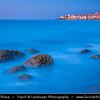 Italy - Italia - Sicily - Sicilia - Cefalù - Ancient City on Shores of Mediterranean sea - Dusk - Twilight - Blue Hour - Night