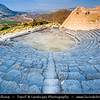 Italy - Italia - Sicily - Sicilia - Trapani - Western Sicily - Segesta - Seggesta - Egesta - Political center of the Elymian people - The ancient theatre with stunning views across surrounding landscape - From mid-June to mid-September Segesta's theatre hosts performances of Greek or Roman plays