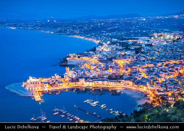 Italy - Italia - Sicily - Sicilia - Trapani - Western Sicily - Castellammare del Golfo - Casteddammari - Sea- Fortress (castle (on the) sea) of the Gulf - View over harbour - Dusk - Twilight - Blue Hour