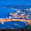 Italy - Italia - Sicily - Sicilia - Trapani - Western Sicily - Castellammare del Golfo - Casteddammari - Sea- Fortress (castle (on the) sea) of the Gulf - View over harbour - Dusk - Twilight - Blue Hour