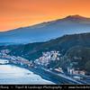 Italy - Italia - Sicily - Sicilia - Taormina - View from Taormina Hill at active Mount Etna and Mediterranean sea