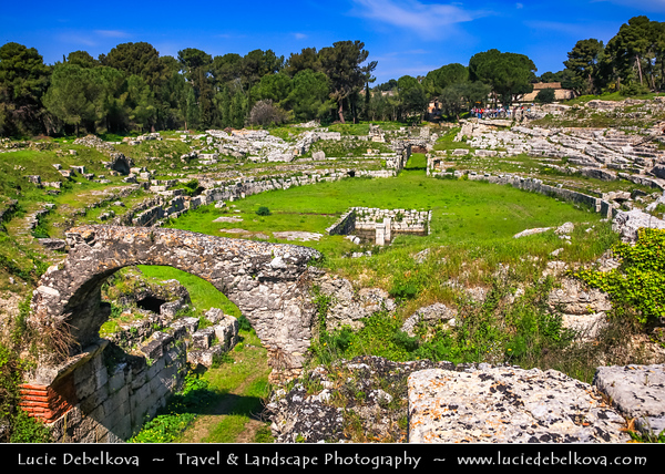 Italy - Italia - Sicily - Sicilia - Syracuse - Siracusa - Sarausa - Ancient city with rich Greek history, culture, amphitheatres, architecture - Birthplace of the preeminent mathematician and engineer Archimedes - Parco Archeologico della Neapolis in Syracuse and Ortygia Island