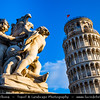 Italy - Tuscany - Toscana - Pisa - Piazza dei Miracoli - Baptistery, Duomo and Leaning Tower - Torre Pendente - UNESCO World Heritage Site - Daytime