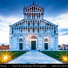 Italy - Tuscany - Toscana - Pisa - Piazza dei Miracoli - Baptistery, Duomo and Leaning Tower - Torre Pendente - UNESCO World Heritage Site - Dusk - Twilight - Blue Hour - Night