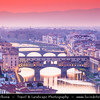 Italy - Tuscany - Toscana - Florence - Firenze - UNESCO World Heritage Site - Famous for its history - Centre of medieval European trade & finance & one of the wealthiest cities of the time - Birthplace of the Renaissance - City Skyline with Duomo - Santa Maria del Fiore viewed from Piazzale Michelangelo at sunset