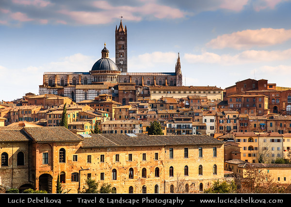 Italy - Tuscany - Toscana - Siena - UNESCO World Heritage Site - Medieval cityscape with Torre del Mangia - Tower of the Eater