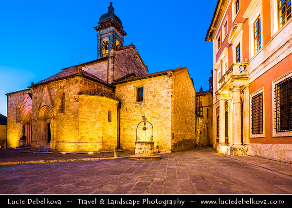 Italy - Tuscany - Toscana - Val d'Orcia - Orcia Valley - UNESCO World Heritage Site - San Quirico d'Orcia - Traditional historical town in the heart of Val d'Orcia - Dusk - Twilight - Blue Hour - Night