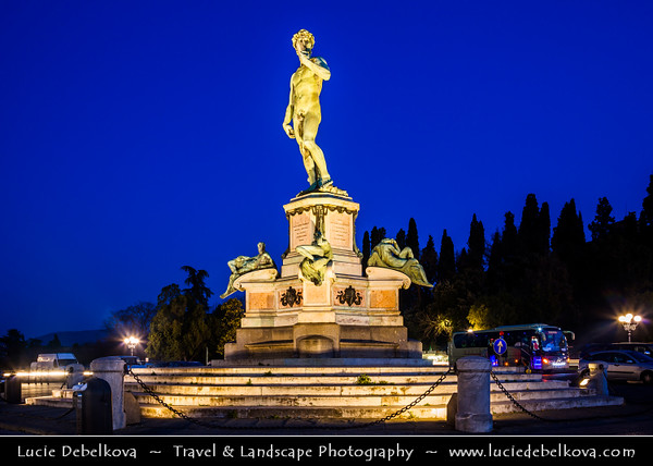 Italy - Tuscany - Toscana - Florence - Firenze - UNESCO World Heritage Site - Famous for its history - Centre of medieval European trade & finance & one of the wealthiest cities of the time - Birthplace of the Renaissance - Statue of David at Piazzale Michelangelo at Dusk - Twilight - Blue Hour