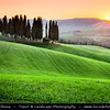 Italy - Tuscany - Toscana - Val d'Orcia - Orcia Valley - UNESCO World Heritage Site - Typical view of the rolling hills - Historic, artistic & landscape area of extraordinary beauty - Sunset