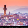 Italy - Tuscany - Toscana - Florence - Firenze - UNESCO World Heritage Site - Famous for its history - Centre of medieval European trade & finance & one of the wealthiest cities of the time - Birthplace of the Renaissance - City Skyline with Duomo - Palazzo Vecchio viewed from Piazzale Michelangelo at sunset