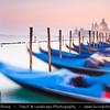 Europe - Italy - Italia - Veneto - Venice - Venezia - UNESCO World Heritage Site - Piazza San Marco - St. Mark's Square with moored Gongolas and Basilica di Santa Maria della Salute - The Basilica of St Mary of Health in background