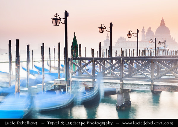 Europe - Italy - Italia - Veneto - Venice - Venezia - UNESCO World Heritage Site - Piazza San Marco - St. Mark's Square with moored Gongolas and Basilica di Santa Maria della Salute - The Basilica of St Mary of Health in background