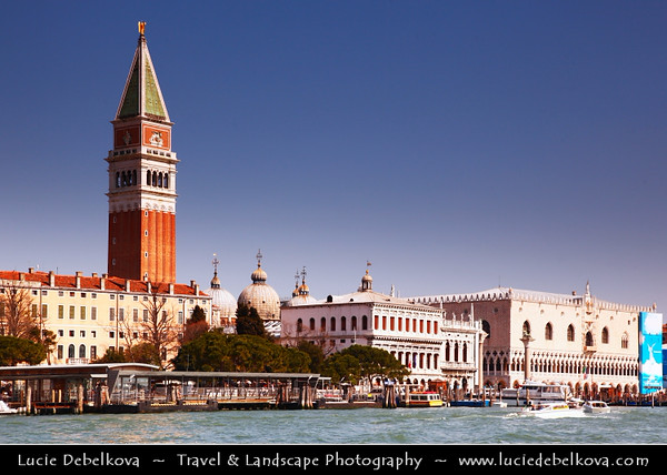 Europe - Italy - Italia - Veneto - Venice - Venezia - UNESCO World Heritage Site - Grand Canal - Canal Grande & St Mark's Campanile - Bell tower of St Mark's Basilica located in the Piazza San Marco - One of the most recognizable symbols of the city