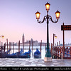 Europe - Italy - Italia - Veneto - Venice - Venezia - UNESCO World Heritage Site - Piazza San Marco - St. Mark's Square with moored Gongolas and San Giorgio Maggiore in background