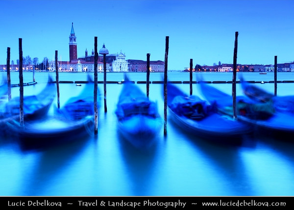 Europe - Italy - Italia - Veneto - Venice - Venezia - UNESCO World Heritage Site - Piazza San Marco - St. Mark's Square with moored Gongolas and San Giorgio Maggiore in background