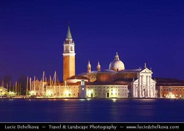Italy - Venice - Venezia - San Giorgio Maggiore - 16th century Benedictine church on the island of the same name - UNESCO World Heritage Site - Dusk - Twilight - Blue Hour