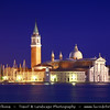Italy - Venice - Venezia - San Giorgio Maggiore - 16th century Benedictine church on the island of the same name - UNESCO World Heritage Site - Dusk - Twilight - Blue Hour