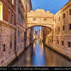 Europe - Italy - Italia - Veneto - Venice - Venezia - UNESCO World Heritage Site - Bridge of Sighs - Ponte dei Sospiri - Famous enclosed bridge made of white limestone with windows and stone bars
