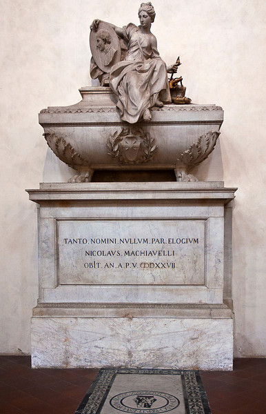 Probably the best known and arguably the most influential political philosopher of all time; the arguments about the coherence, influence and intention of Machiavelli (1469-1527) are all over the place.<br /> <br /> Was he writing critically and satirically of the Medici or was he trying to get into their good graces by praising them? Are his writings coherent or self-contradictory? (After all when you have Alexander Hamilton, John Adams and Thomas Jefferson all quoting him in support of their positions, you have a strange set of bedfellows.) Was he an empiricist, a realist or an idealist? <br /> <br /> If I do not believe that a just society can be achieved by allowing its citizens to cite their ends to justify their means, I cannot accept that a just society can exist by allowing its leader(s) to do so.