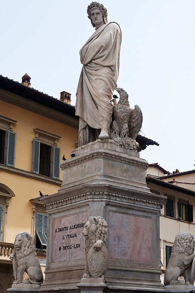 And above it all was the towering, brooding, banished majesty of the spirit of Dante Aligheri (1265-1321) -- my candidate for the greatest writer ever. <br /> <br /> Shakespeare may have created the modern psyche's sense of self, but Signore Alghieri grounded the human in a transcendent moral universe that resonates with any imaginative intelligence who knows that man soon goes to his long home.<br /> <br /> This statue is in the Piazza Sante Croce. Banned from Florence in life, he is buried in Ravenna which refuses to return his remains.
