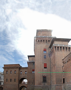 A multi shot panorama of the castle in Ferrara, Italy