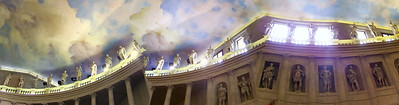 """A """"expressionistic"""" view of the ceiling of the Palladio theater in Vicenza, Italy"""