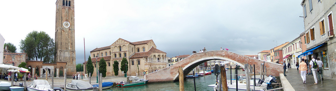 Panorama of Moreno, Italy near Venice showing the church and bell tower.