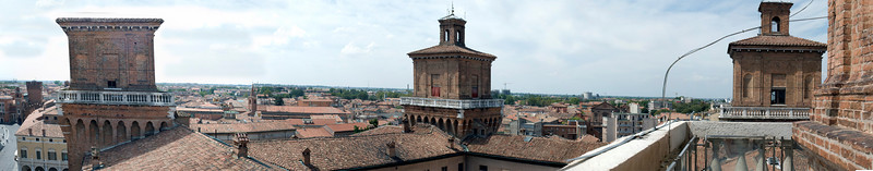 A panorama of the castle towers in Ferrara, Italy