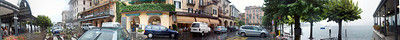 300 degree panorama of rainy street scene in Bellagio, Italy taken in front of the boat ticket office.