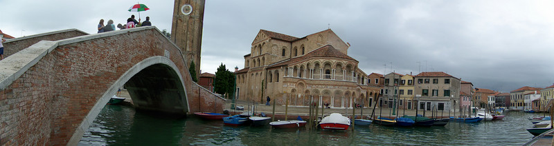 A darker panorama of Moreno, Italy near Venice showing the church and bell tower.