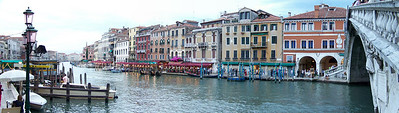 A panorama of the Grand Canal From the Rialto Bridge, Venice, Italy.