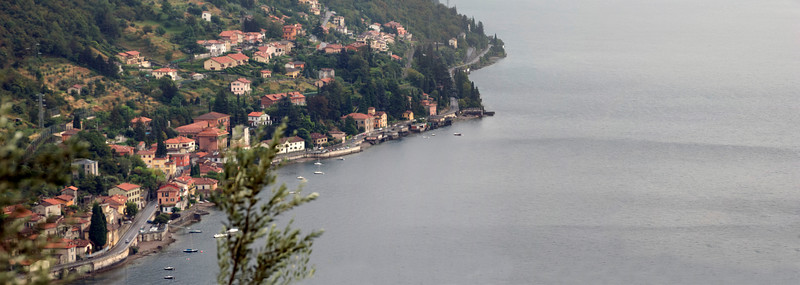 Panoramic view of Lake Como, Italy taken near the castle ruins in Varrena.