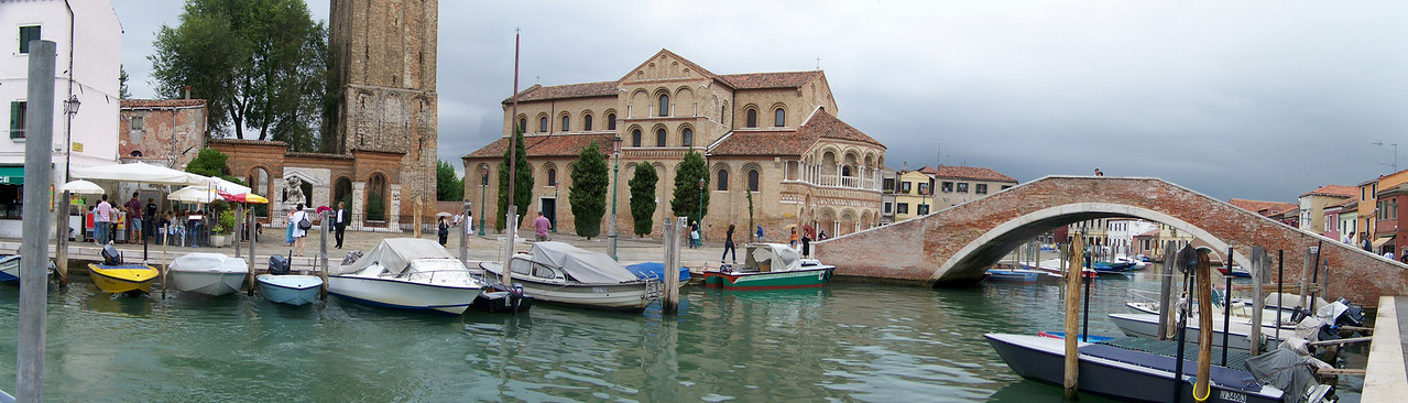 Another panorama of Moreno, Italy near Venice showing the church and bell tower.